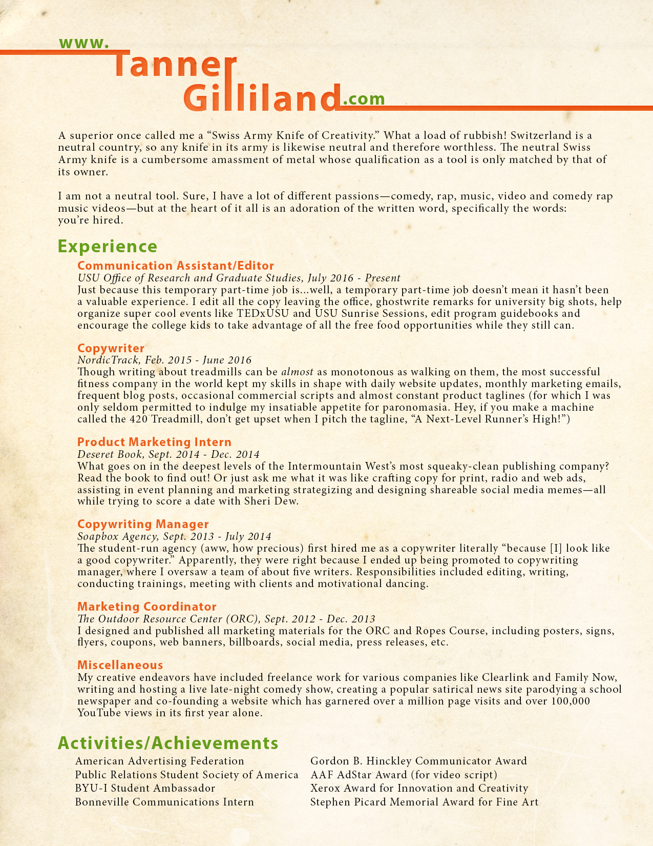 resume tanner gilliland radio copy writer resume - Sample Ad Copywriter Resume